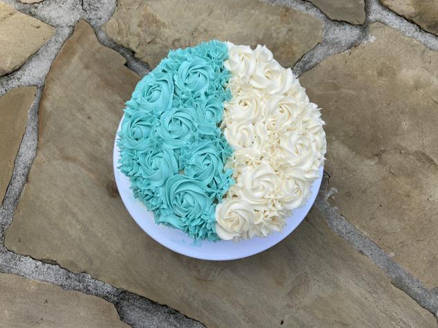 Vanilla Tie Dye Turquoise and White Cake