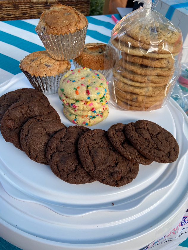 Assortment of Cookies and Blueberry Muffins