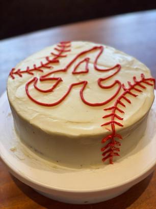 Customized Red Velvet Atlanta Braves Cake