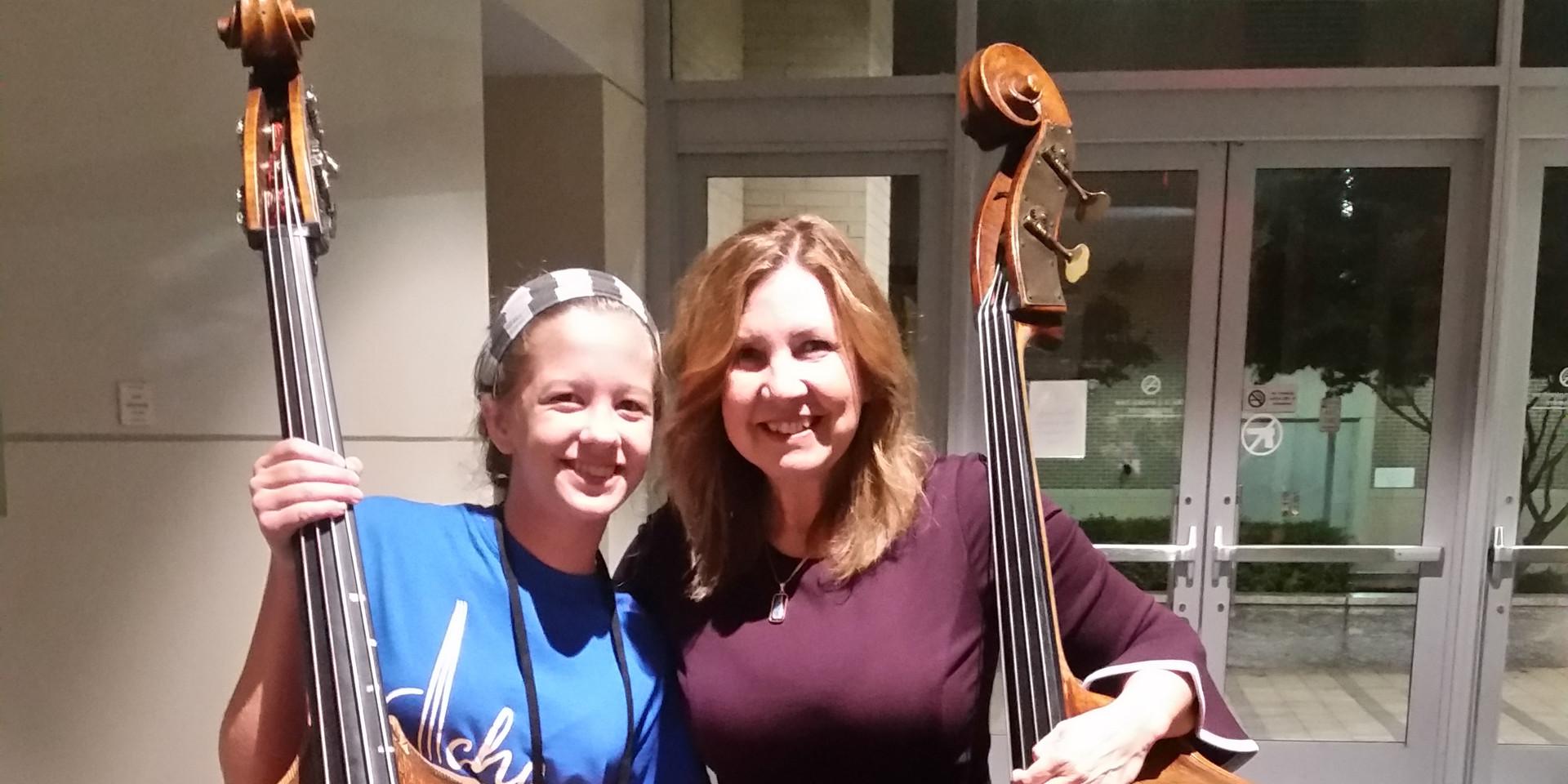 Emmaline with award winning bass player Missy Raines