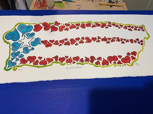 """Original Acrylic on Paper """"Que Bonita Bandera"""""""