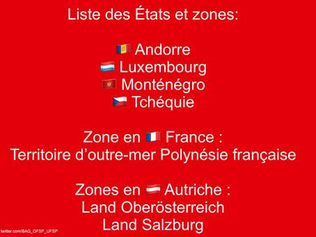 Retour en Suisse: la liste des États et des territoires a été mise à jour.
