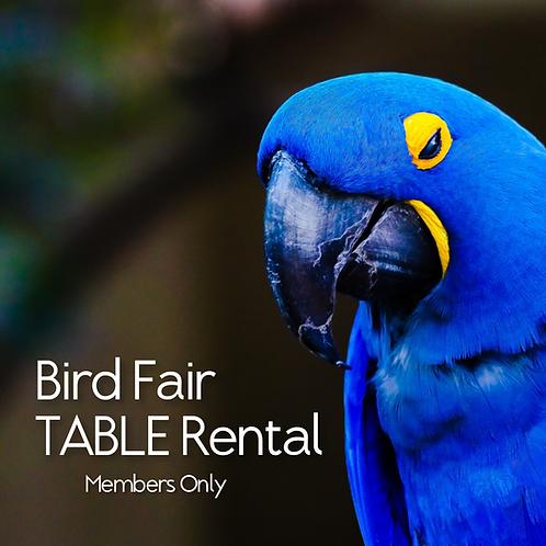 Bird Fair Table Rental (CLUB MEMBERS)