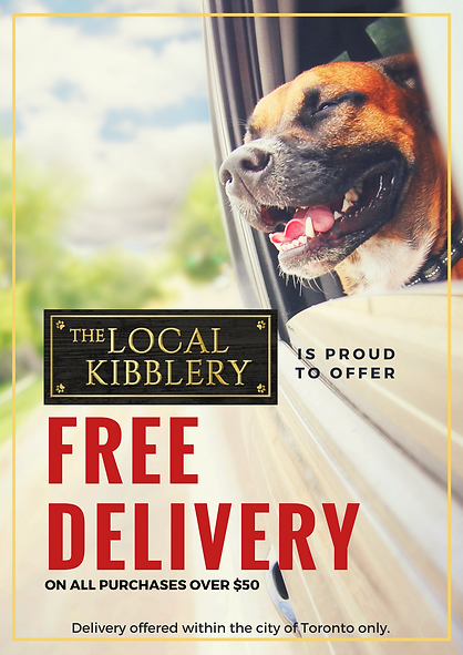 Dog hanging head out of car window. Advertising free delivery