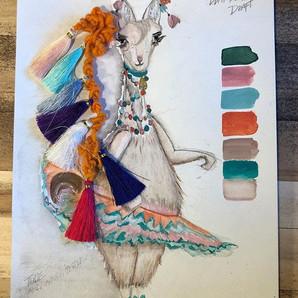 Mints and Mills ✨ Lama sketch, color pal