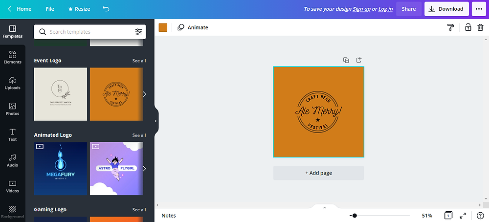 canva logo maker screenshot