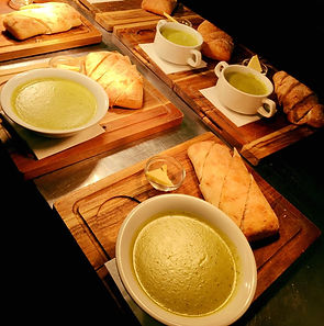 Pea & Mint soup with fresh bread