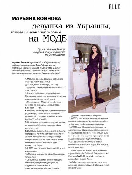 МАРЬЯНА ВОИНОВА девушка из Украины, которая не остановилась только на МОДЕ