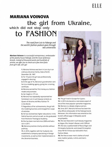 MARIANA VOINOVA the girl from Ukraine, which did not stop only to FASHION