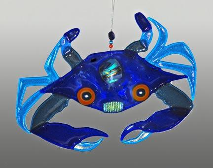 Fused Glass Crab Hanging