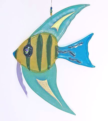 Fused Glass Fresh Water Angel Fish Hanging with dichroic glass details.