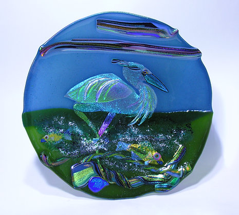 "18 ""Dichroic Fused Glass Heron Bowl"
