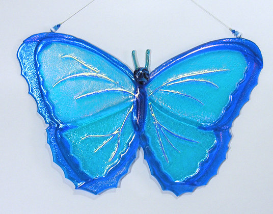 Fused Glass Blue Morpho Hanging