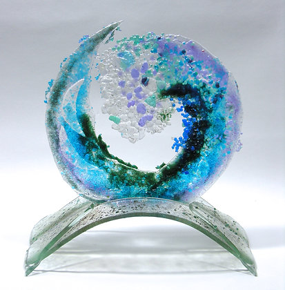 10 Inch Spiral Wave on Glass Stand