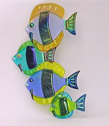 """11"""" Fused Glass Discus Fish Group Hanging"""