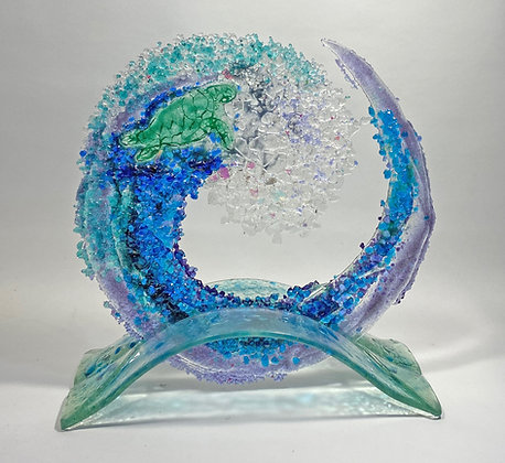 12 inch Turtle Wave on Glass Arched Stand