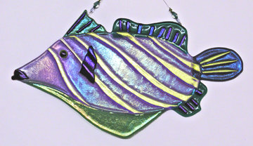 Fused Glass Trigger Fish Hanging with dichroic glass details.
