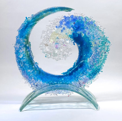12 inch  Wave on Glass Arched Stand