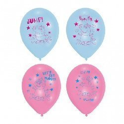 "11"" Peppa Pig Latex Balloon pack of 6"