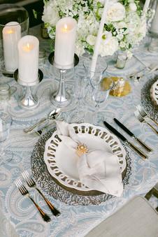 "<img src=""whiteweddingcharger.jpeg"" alt=""white wedding plate, wedding place setting, wedding head table, fancy chargers, gold napkin ring"">"
