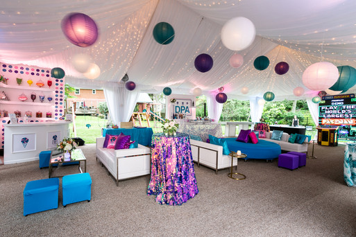 lantern lights in tented event