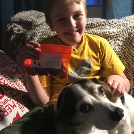A boy, his dog and treats!