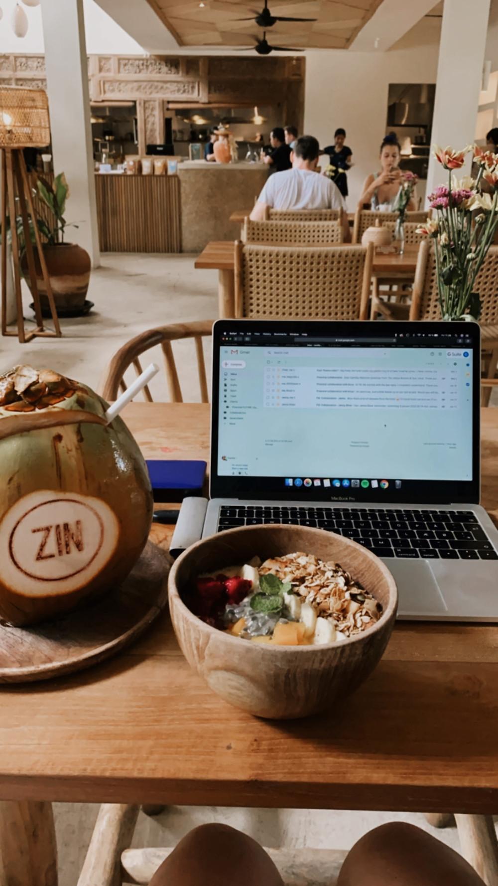 zin cafe Bali digital nomad food computer working in cafe