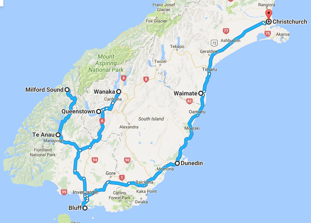 new-zealand-route-south-island