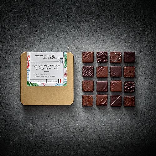 16 Bonbons de chocolat Ganaches & Pralinés et son pochon gratos