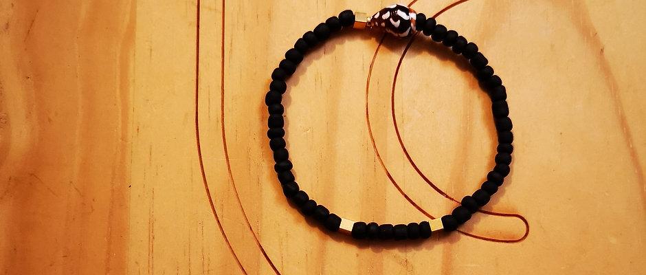 Bracelet pour Hommes laiton doré BOLD Mat Noir