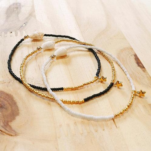 Bracelets LILI STAR pour Cosmopolitan Noir Or et Blanc