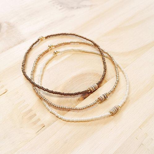Bracelets LOLA Crème Or light et Marron cuivré