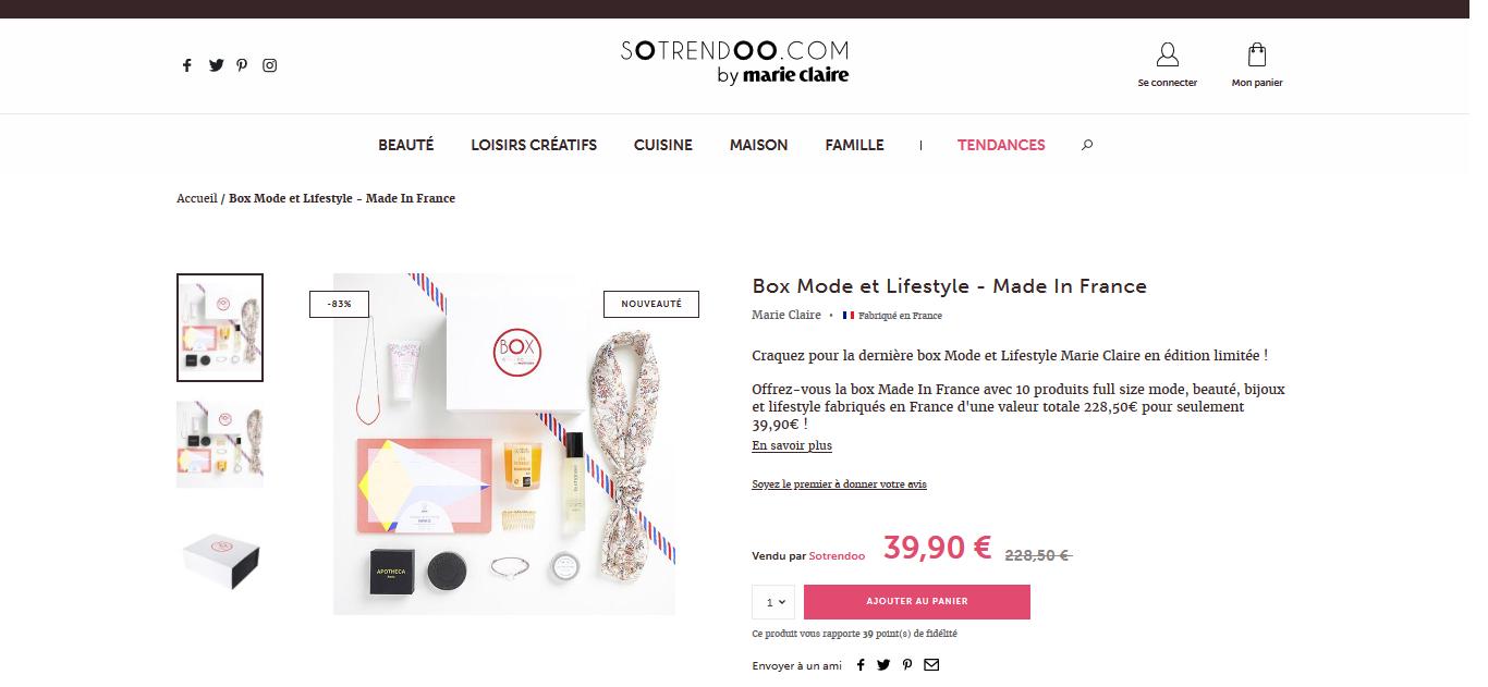 Box Mode et Lifestyle - Made In France - Sotrendoo par Marie Claire X Linda Clarini Bijoux