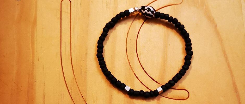 Bracelet pour Hommes laiton argenté BOLD Mat Noir