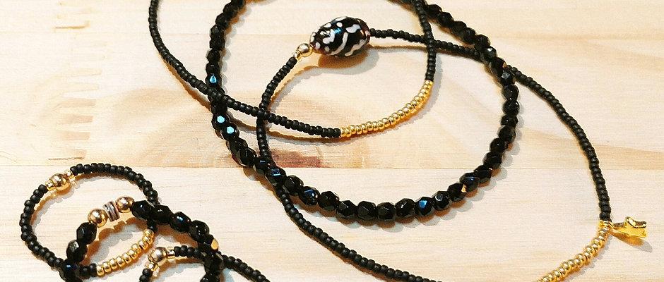 Bagues et Bracelets trio Noir