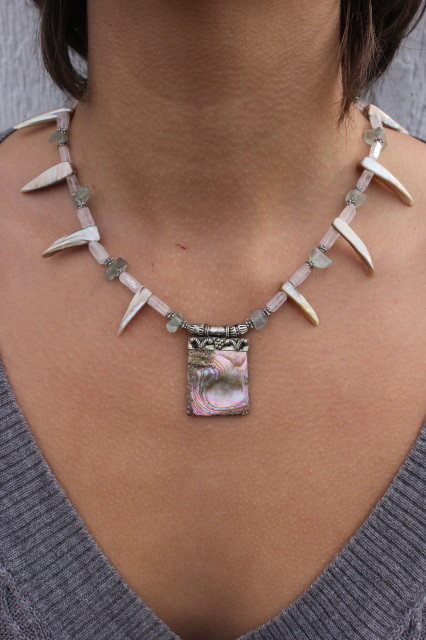 Abalone Shell & Fluorite Necklace