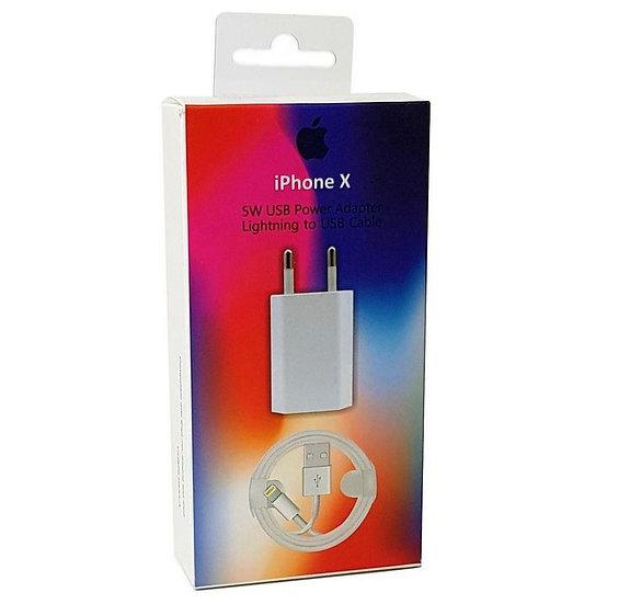 Kit carregador Compatível IPhone X, XR, XS e Cabo de 1 M
