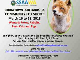 February - March: Community Fox Shoots