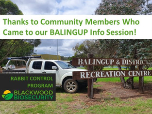 Rabbit Control Program Kicked Off In Balingup - 6th March Info Session