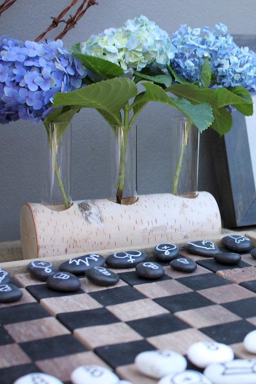 birch log vase