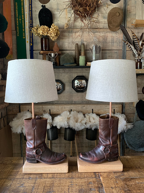 Rustic ole' boot lamps