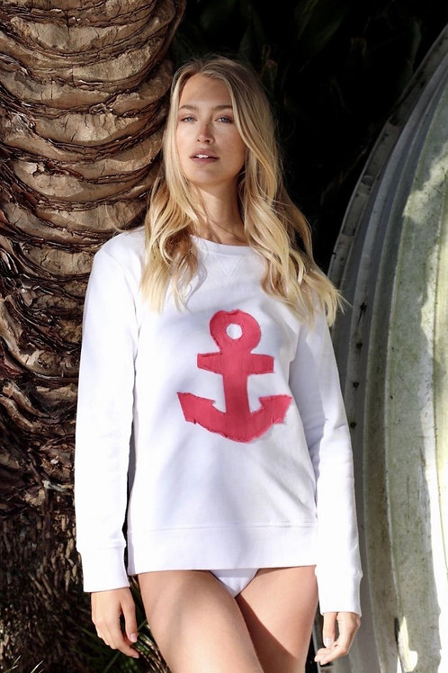Side Zip Anchor - White (with red)