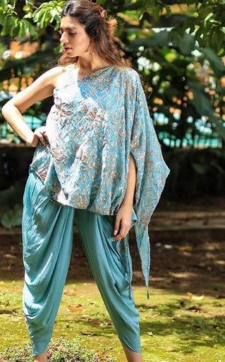Turquoise blue - One shoulder asymmetric dhoti 3 piece set