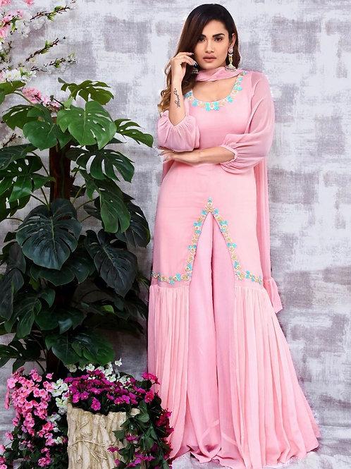 Flamingo pink dress- with ruffle dupatta