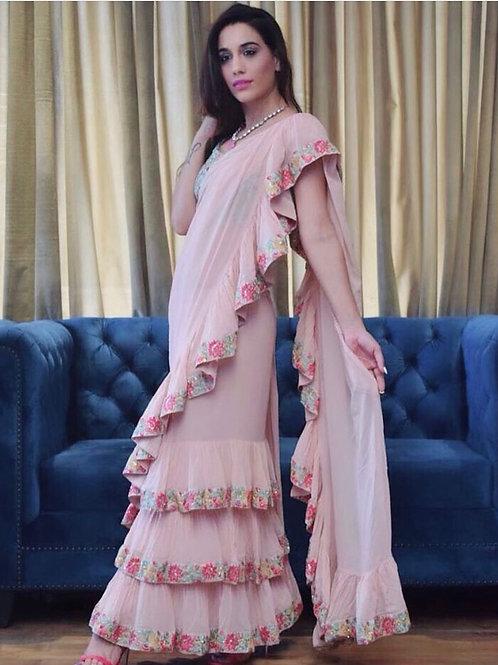 Blush pink - ruffle saree