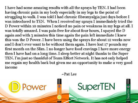 TEN sprays testimonials