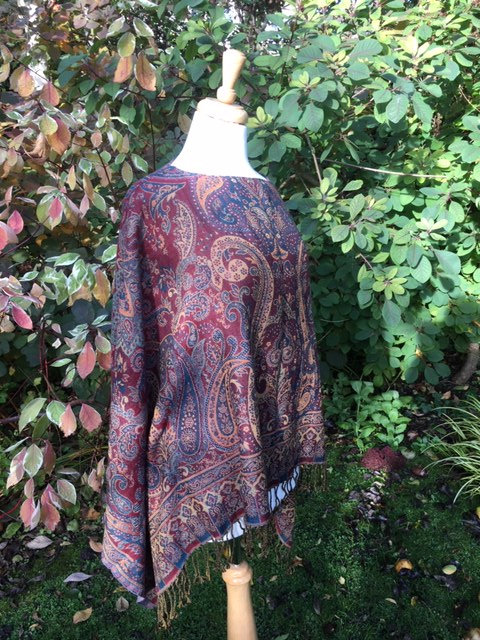 Traditional woven Wool Paisley design poncho