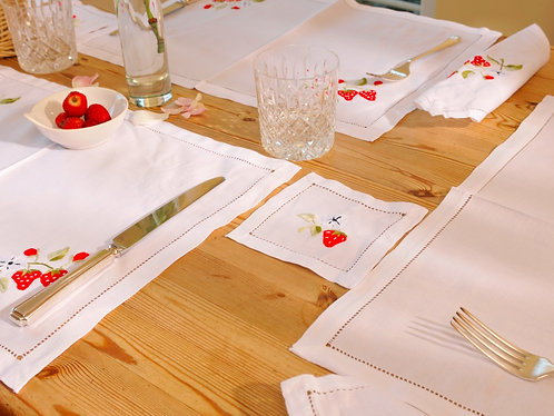 Strawberry Embroidered drinks mat