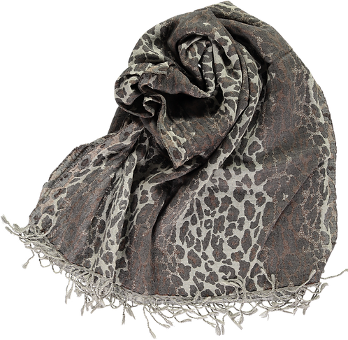 Wool stole with woven animal print design.