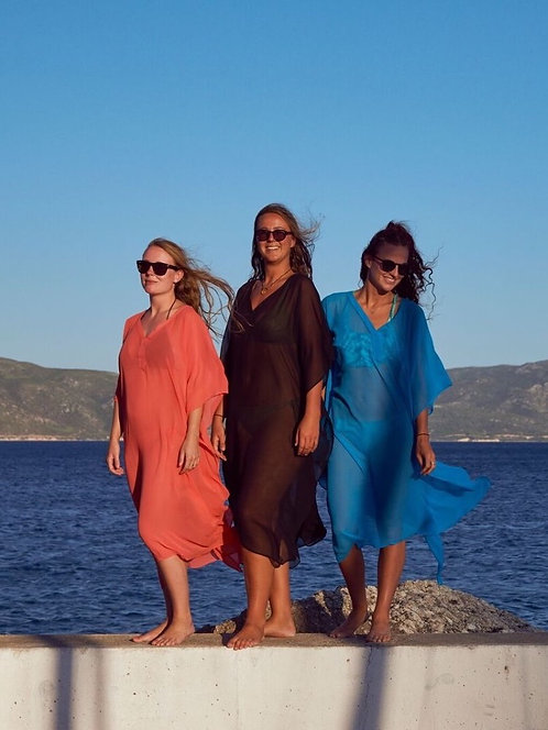 Plain long kaftan - V neck